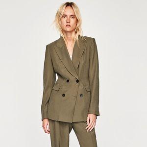 Zara olive double breasted blazer